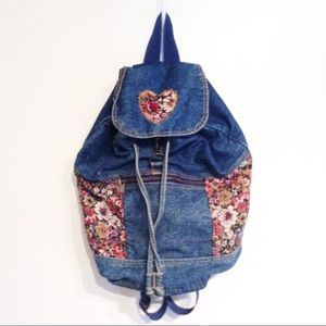 VTG 90s Denim & Floral Tapestry Backpack Purse